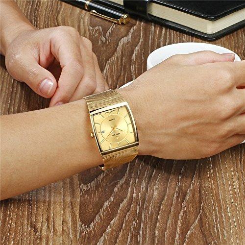 wwoor banda de malla de acero inoxidable reloj de cuarzo ana