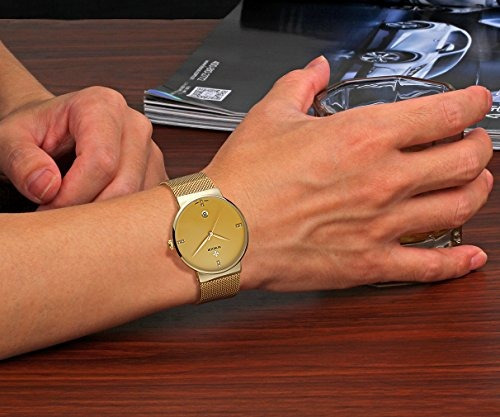 wwoor gent fecha casual relojes de cuarzo elite ultra thin b