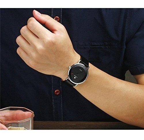 wwoor hombres ultrathin reloj analogico de cuarzo a prueba d