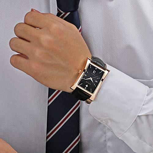 wwoor reloj de los hombres cuadrado analógico