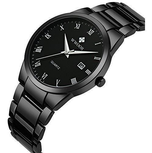 wwoor relojes para hombres big dial auto date negro correa