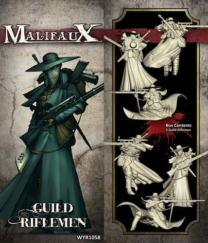 wyrd miniatures malifaux guild riflemen model kit 3 pack