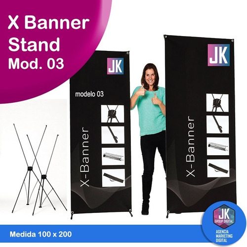 x banner stand modelo 03 100 x 200