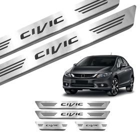 X Kit Soleira Porta Aço Inox Escovado Honda Civic 2012/2018