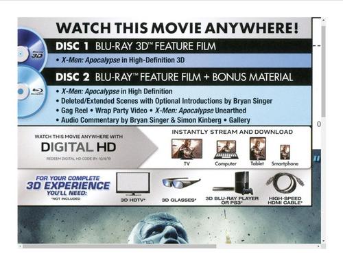 x men apocalypse 3d +blu ray 2d+ dvd +regalo- slipcover 2018