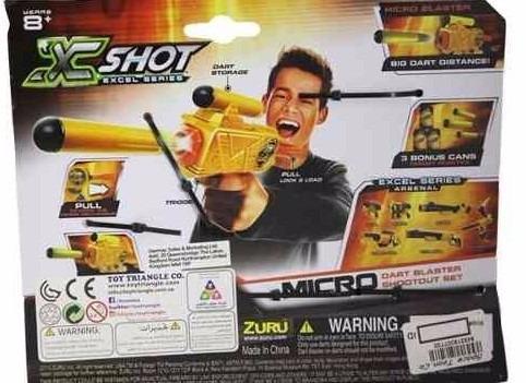 x-shot micro dart blaster incluye 3 blancos compacta potente
