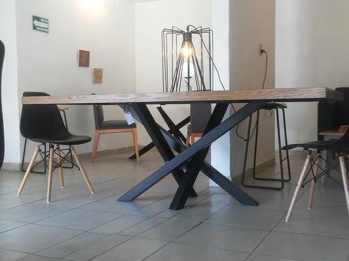 x table mesa de comedor con 4 siilas eams negras!