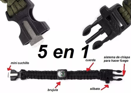 x10 pulsera paracord treking y escalada supervivencia 5 en 1
