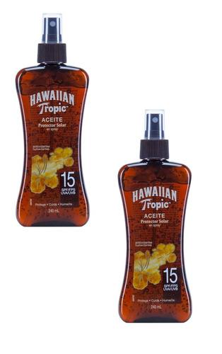 x2 aceite protector solar hawaiian tropic tanning 15spf 240