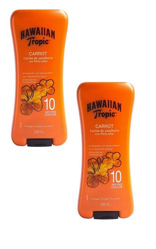 x2 locion de zanahoria hawaiian tropic con filtro 10spf 240