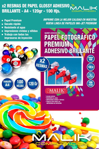 x2 papel glossy adhesivo 100 hjs 120gr a4 env. gratis malik