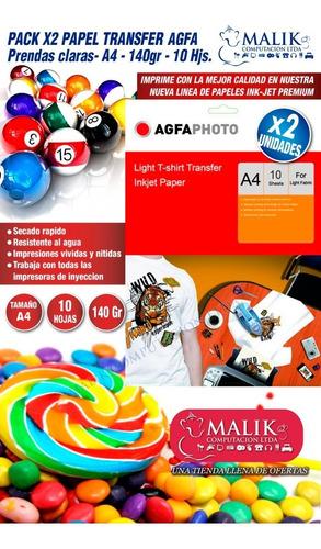 x2 papel transfer agfa prendas claras a4 10hjs 140gr premium
