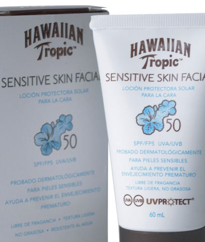 x2 protector facial hawaiian tropic sensitive 50spf 60ml