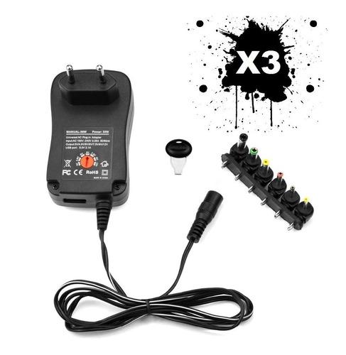 x3 adaptador de corriente universal 12w regulable 3v a 12v