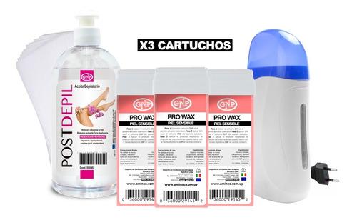 x3 cera depilatoria gnp, calentador de cera, bandas y aceite