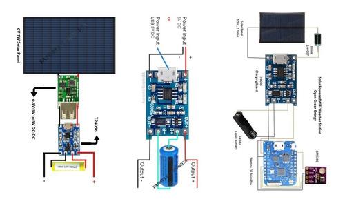 x5 cargador bateria litio 3.7v 18650 modulo tp4056 micro