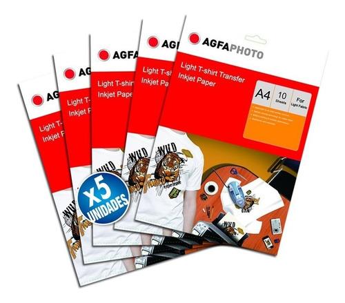 x5 papel transfer agfa prendas claras a4 10hjs 140gr premium