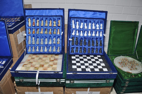 xadrez tabuleiro grande 40x40 cm mármore e ônix com estojo