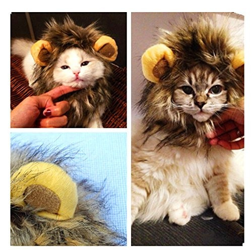 Xbes Traje De Mascota Lion Mane Peluca Con Orejas Dog Cat H ... 207e8f0f502c