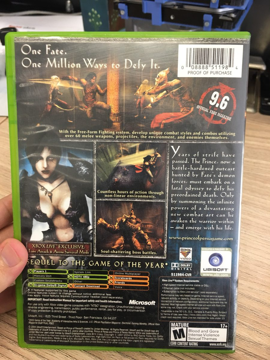 Xbox 1 Clássico Prince Of Persia Warrior Within Original