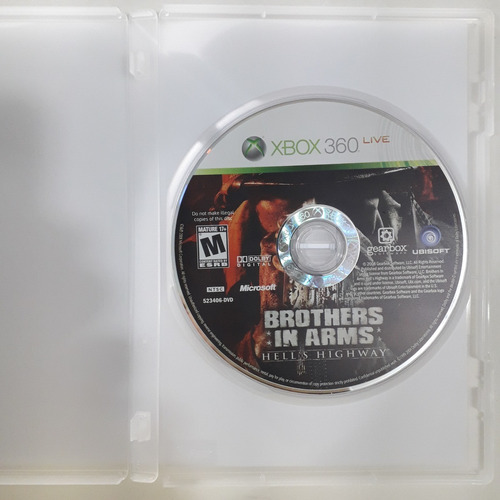 xbox 360 - brothers in arms hell´s highway - original usa/ntsc - mídia física - capa reimpressa - sem manual