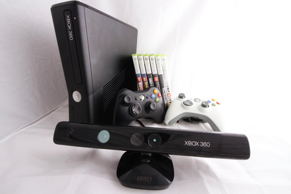 Xbox 360 Black Con Kinect 2 Controles Y 6 Juegos 3 000 00 En