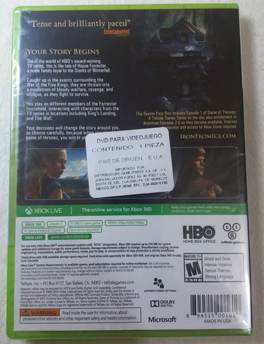 xbox 360 game of thrones a telltale games series nuevo