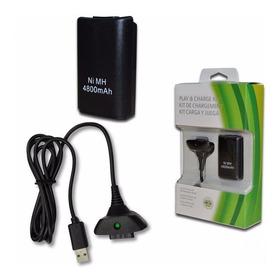 Xbox 360 Kit Carga Y Juega + 4800 Ni-mh Cargador Hasta 35h