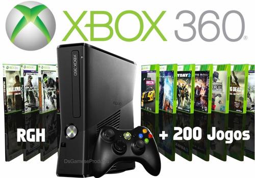 xbox 360 semi novo hd 320gb + 2 controles + 200 jogos