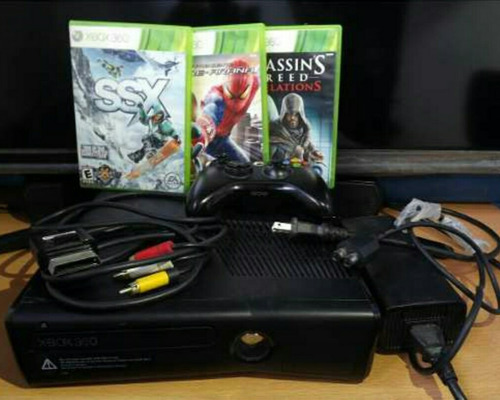 xbox 360 slim 1 control 3 juegos 90verdes model 1439