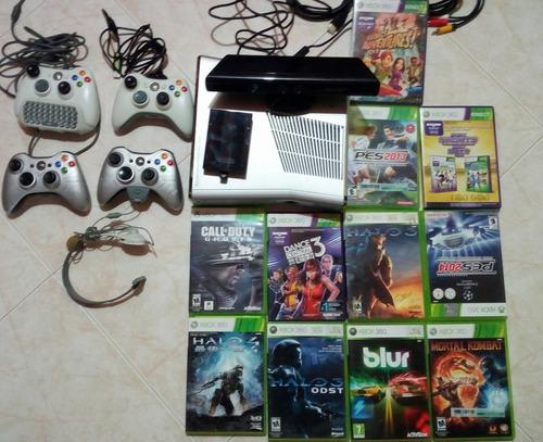 xbox 360 slim 250gb +4 controles+ 56 juegos originales+kinet