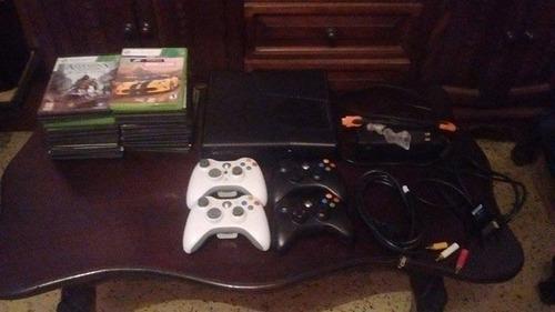 xbox 360 slim 250gb chipeado lt 3.0 + 4 controles + juegos