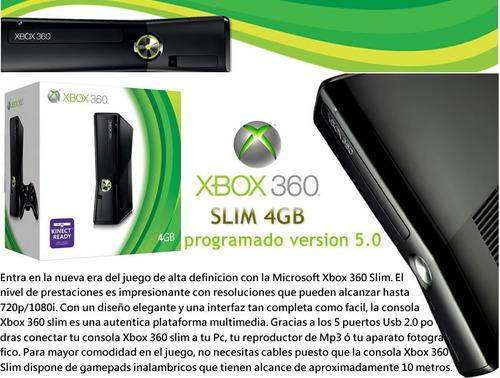 xbox 360 slim 4gb con juegos