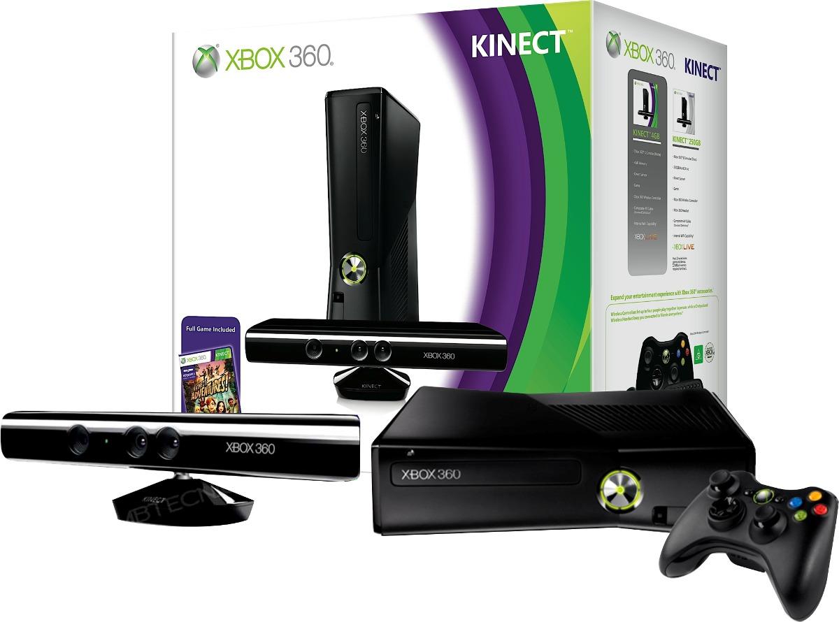 Xbox 360 Slim Flasheada Rgh 4gb 220v C Kinectreacondicionada