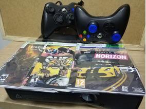 Xbox 360 Slim Rgh Com 2 Controles 3 Jogos (nao Orig)