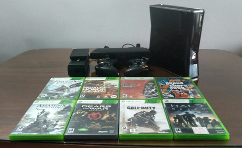 xbox 360 slim,250 gb,2 controles,10 juegos,ac adapter,kinect