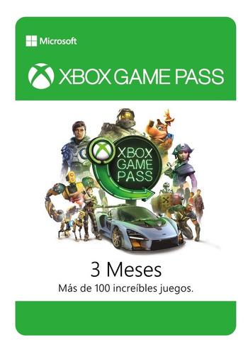 xbox game pass 3 meses - one - código digital +100 juegos
