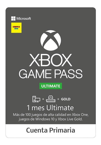 xbox game pass ultimate 1 mes cuenta primaria xbox one y pc