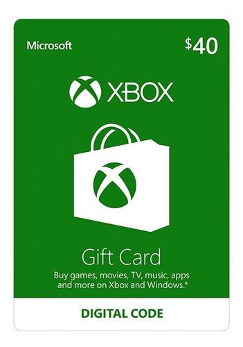 xbox gift card 40$ tarjeta de regalo