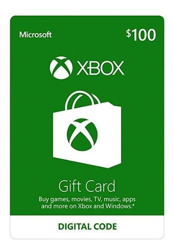 xbox gift card código saldo 100 dólares tarjeta digital