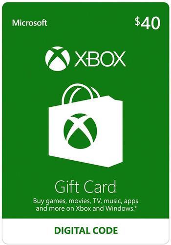 xbox gift card código saldo 40 dólares xbox 360, xbox one