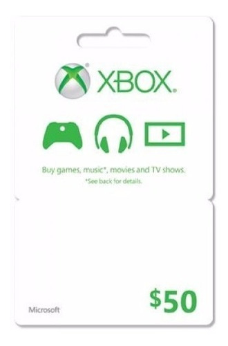 xbox live $50 tarjeta gift card usa $50 xbox gold microsoft