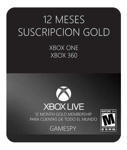 xbox live gold 12 meses xbox one xbox 360 entrega inmediata