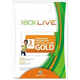Xbox Live Gold 3 Meses Brasil Usa- Cartão Assinatura 360 One