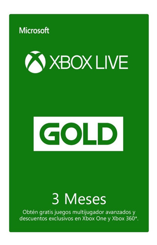 xbox live gold de 3 meses xbox one / 360 global