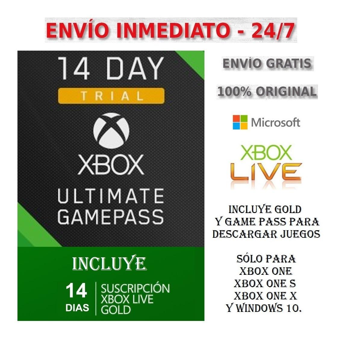 Xbox Live Gold Membresia 14 Dias Codigo Entrega Inmediata