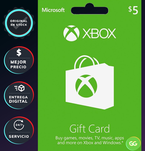 xbox live tarjeta gift card 5 d¿lares usd [xbox one]