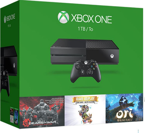 xbox one 1tb +3 juegos: geras of war  + ori + rare replay