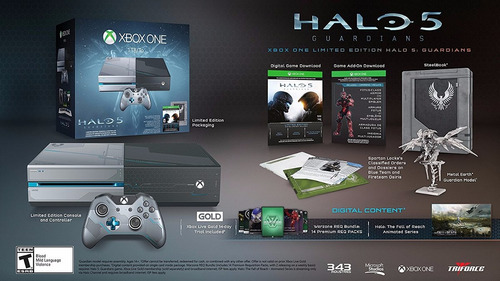 xbox one 1tb console - limited edition halo 5: guardians bun