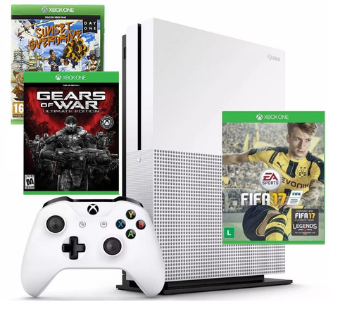 xbox one 500gb c/ 3 jogos fifa 17 + gears of war + sunset